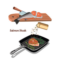 sketch colorful salmon steak cooking concept vector image