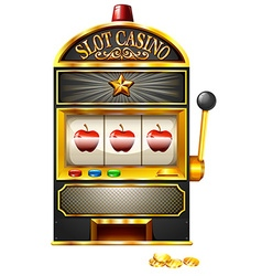 Slot machine with apples vector