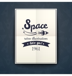 Space retro poster vector image