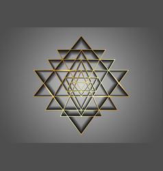 Sri yantra gold sacred geometry hindu symbol logo vector