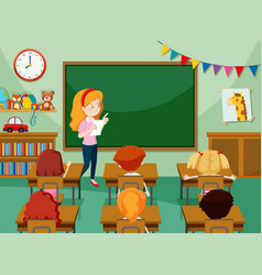 teacher and students in classroon vector image