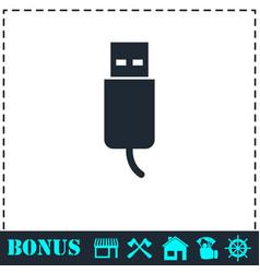 usb plug icon flat vector image