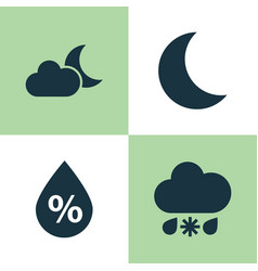 Weather icons set collection moonlight wet vector