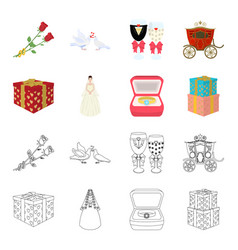 wedding and attributes cartoonoutline icons in vector image