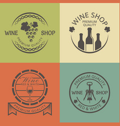 wine shop vintage round colored emblems vector image