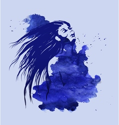 Woman head on the blue watercolor background vector