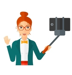 Woman making selfie vector image
