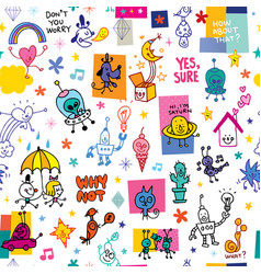 cartoon characters pattern vector image vector image
