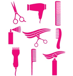 Set of hairdresser tools vector