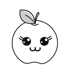 silhouette kawaii cute happy apple fruit vector image vector image