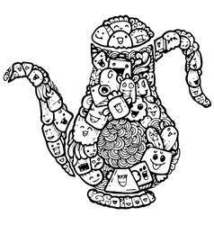 teapot doodle cartoon vector image