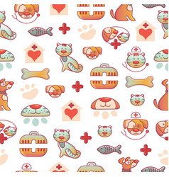 veterinary pets clinic animal seamless pattern vector image vector image