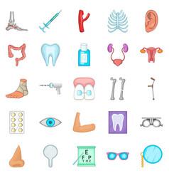 women health icons set cartoon style vector image