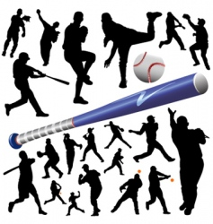 collection of baseball vector image vector image