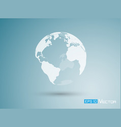 earth on blue background vector image vector image