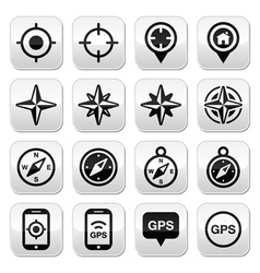 Gps navigation wind rose compass buttons set vector