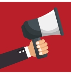 hand human with megaphone vector image