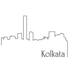 Kolkata city one line drawing vector