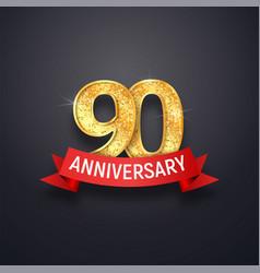 ninety anniversary logo template 90th years vector image