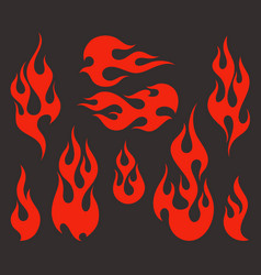 red fire old school flame elements vector image