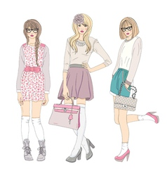 Young cute fashion teenager girls vector