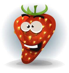 funny strawberry character vector image