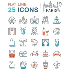 Set Flat Line Icons Paris and France vector image vector image