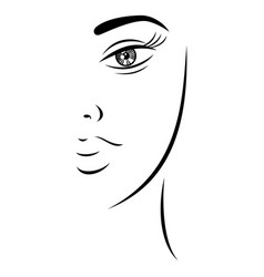 sketch drawing pretty lady face vector image