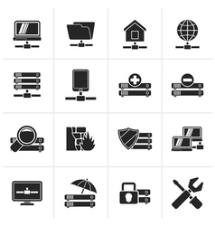 Black server hosting and internet icons vector image