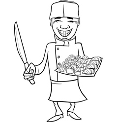japan sushi chef cartoon coloring page vector image vector image