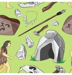 Prehistoric stone age icons set pattern vector image