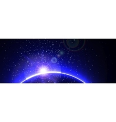 Space background with blue light from behind vector image vector image
