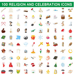 100 religion and celebration icons set vector