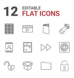 12 open icons vector image