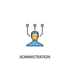 Administration concept 2 colored line icon simple vector