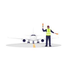 Airplane runway controller semi flat rgb color vector