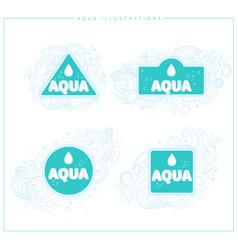 aqua logos and emblems vector image