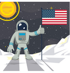 astronaut in the moon nailing usa flag vector image