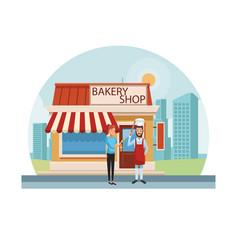 Bakery shop at city vector