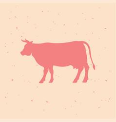 beef vintage logo retro print poster vector image