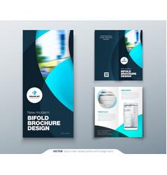Bi fold brochure or flyer design with circle vector
