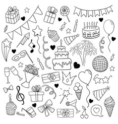 big set hand drawn doodle cartoon objects and vector image