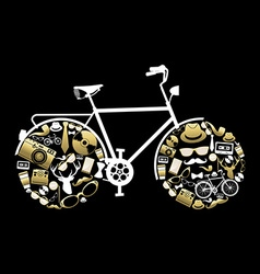Bike silhouette with hipster icons in gold color vector