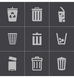 black trash can icons set vector image