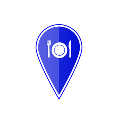 blue map pointer with restaurant icon vector image