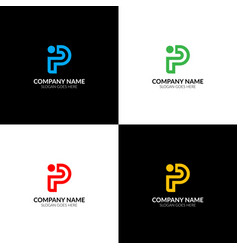 Bold letter p and i logo icon flat design vector