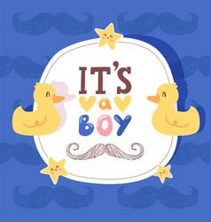 boy baby shower invitation birthday greeting card vector image