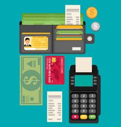 Card money coins payment methods concept flat vector