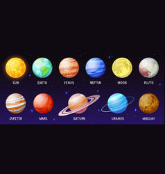 cartoon solar system space planets moon sun vector image