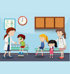 Children and doctors in clinic vector